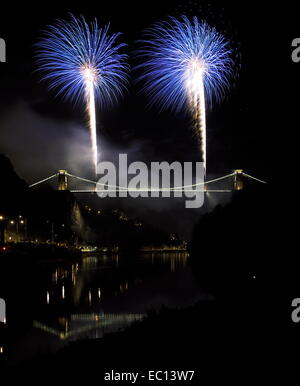 Bristol, UK. 07th Dec, 2014. Blue fireworks being fired from Bristol`s famous Clifton suspension bridge to mark - Stock Image