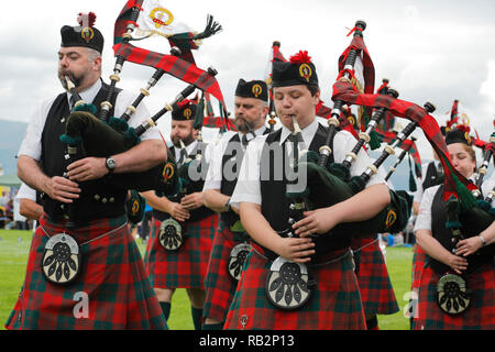 The Great Highland Bagpipe played at Highland games - Stock Image