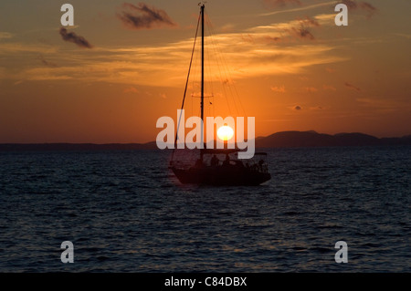 Mallorca, Bay of Palma, yacht at sunset - Stock Image