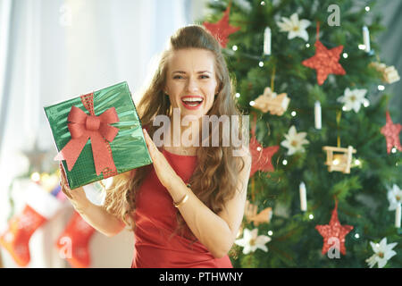 Portrait of smiling stylish woman in red dress with green Christmas present box near Christmas tree - Stock Image