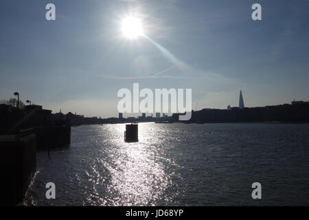Sunshine, River Thames, London, UK - Stock Image
