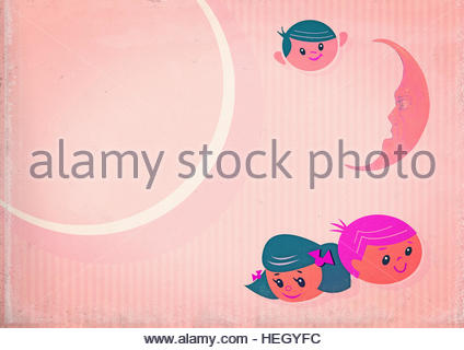 Nursery retro vintage children kindergarten preschool infants bedtime background illustration - Stock Image