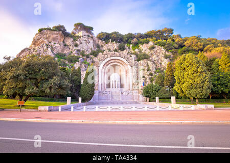 Hill carved Monument aux morts de Rauba-Capeu in Nice, French riviera - Stock Image