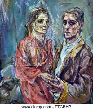 Double portrait of Oskar Kokoschka and Alma Mahler (1912/13) by Oskar Kokoschka born 1886 Austria Austrian (expressionistic portraits and landscapes) - Stock Image