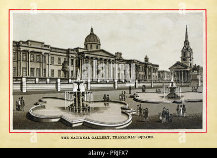 The National Gallery, 1883 high quality steel engraving of the nation's art gallery, completed in 1838, in the centre of London, Trafalgar Square, next to the church of St Martin in the Fields - Stock Image