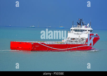 The KL Barentsfjord platform supply Vessel leaving Aberdeen as it heads out into the North sea on its way to the ENSCO 100 OIL platform. - Stock Image
