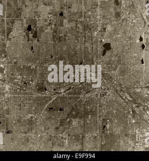 historical aerial photograph Denver, Colorado, 1970 - Stock Image