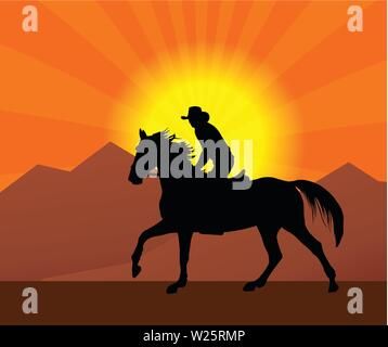 cowboy riding a horse in a sunset silhouette - vector - Stock Image
