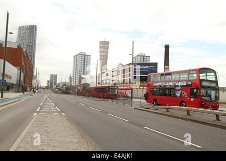 London, UK. 07th July, 2014. London, UK. 07th July, 2014. London transport buses seen parked on Stratford High Street - Stock Image
