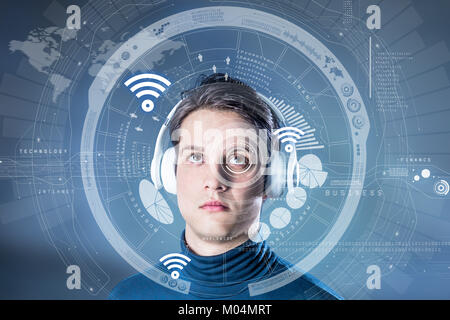 futuristic graphical user interface concept, heads up display, wearable computing, wearable device, internet of - Stock Image