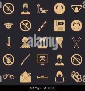 Phobia icons set, simple style - Stock Image