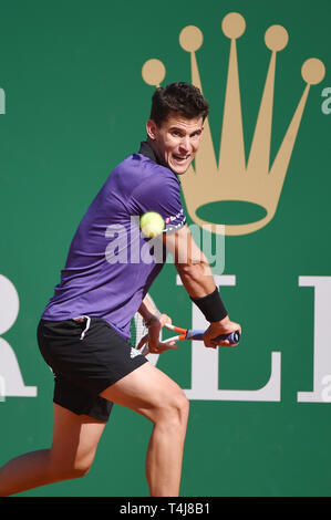 Roquebrune-Cap-Martin, France. 17th Apr, 2019. Dominic Thiem (AUT) Tennis : Men's Singles 2nd Round match during Monte Carlo Masters at Monte Carlo Country Club in Roquebrune-Cap-Martin, France . Credit: Itaru Chiba/AFLO/Alamy Live News - Stock Image