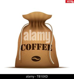 Burlap sack with Coffee. - Stock Image