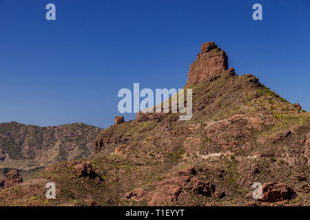 Roque Bentayga volcanic rock on Gran Canaria, Canary Islands - Stock Image