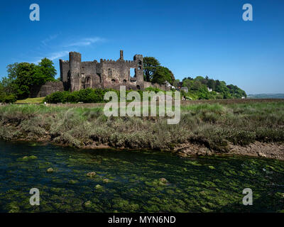 Laugharne castle, south coast of Carmarthenshire, Wales, on the estuary of the River Tâf. - Stock Image