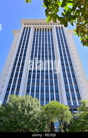 The RSA Tower a high rise office building from low angle in downtown Montgomery Alabama, USA. - Stock Image