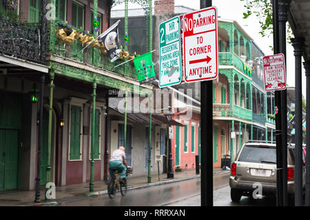New Orleans street, view along Royal Street in the French Quarter on a rainy afternoon, New Orleans, Louisiana, USA. - Stock Image