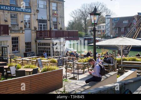 The Head of the River Public house by the River Thames, Oxford - Stock Image