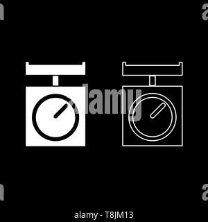 Kitchen scales Domestic weigh scales Weighing scales with pan Kitchen appliances icon outline set white color vector illustration flat style simple - Stock Image