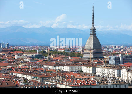 Mole Antonelliana tower and Turin city in a sunny summer day in Italy - Stock Image