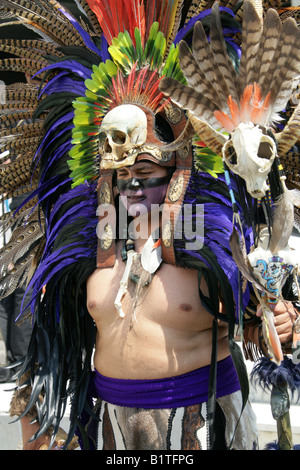 Mexican Man Dressed in Aztec Skull Costume at a Traditional Aztec Festival, National Museum of Anthropology, Mexico - Stock Image