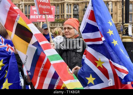 London, UK. 27th March, 2019. Remain protester. Anti Brexit Protest in Westminster, Houses of Parliament, Westminster, London. UK Credit: michael melia/Alamy Live News - Stock Image