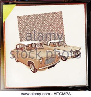 Mid century cars retro vintage fifties style studio image pattern backdrop - Stock Image