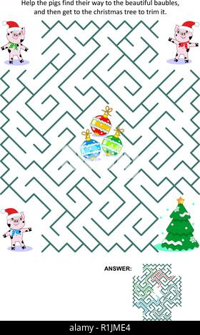 Winter holidays, Christmas or New Year maze game: Help the little pigs get to the christmas tree and trim it. Answer included. - Stock Image