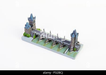 Souvenir model of the Charles bridge - Stock Image