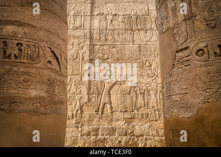 Close-up of wall carvings, Great Hypostyle Hall, Karnak Temple, Karnak, Luxor, Egypt - Stock Image