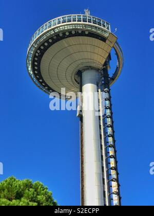 Looking up at the Faro de Moncloa in Madrid, Spain. This 92 metre high structure allows panoramic views of Madrid from its viewing platform. A Madrid tourist attraction. Photo © COLIN HOSKINS. - Stock Image