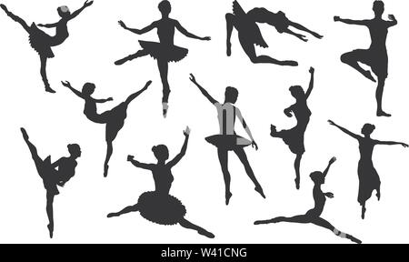 Ballet Dancer Silhouette Set - Stock Image