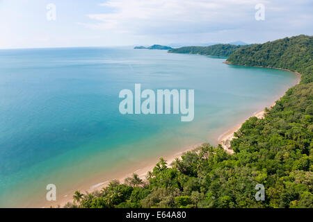 Aerial view of rain forest and beach, Daintree Forest, Daintree National Park, nr Cairns, Queensland, Australia - Stock Image