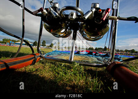 A hot air balloon burner and envelope at the 30th annual Atlantic International Balloon Fiesta in Sussex, NB, Canada. - Stock Image