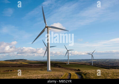 Wind Turbines Brecon Beacons South Wales, UK - Stock Image