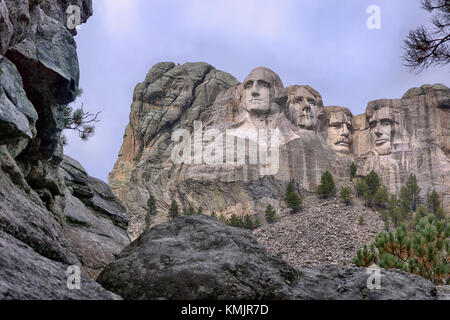 National memorial at Mount Rushmore, South Dakota of outstanding and famous American Presidents - Stock Image