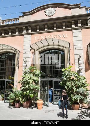 BARCELONA, SPAIN - APRIL 21, 2018: Entrance to the historic galleries 'El Nacional', in the Paseo de gracia of Barcelona, where there are many bars an - Stock Image