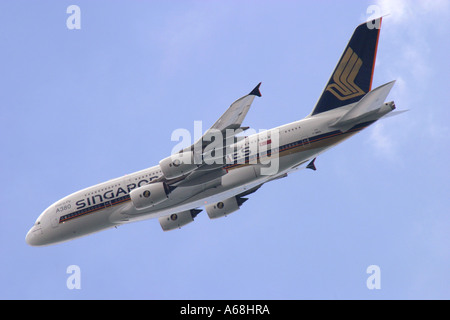 An Airbus A380 Superjumbo in Singapore Airlines at Asian Aerospace February 2006. - Stock Image