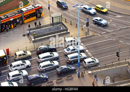 aerial view on traffic Warsaw Poland - Stock Image