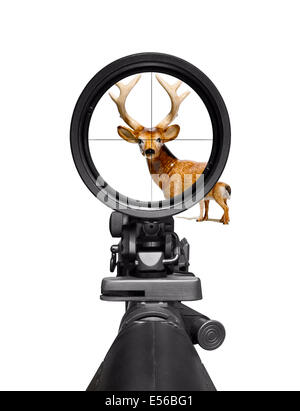 A deer caught in the cross hairs of a gun sight. The deer is a china model - Stock Image