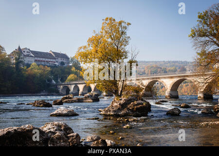 The river Rhine near the Rhine Falls, Neuhausen am Rheinfall, Switzerland - Stock Image