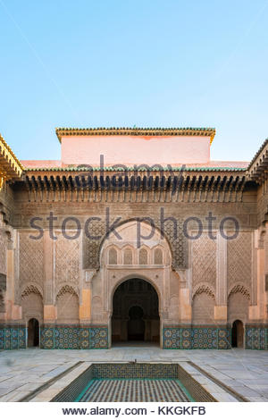 Morocco, Marrakech-Safi (Marrakesh-Tensift-El Haouz) region, Marrakesh. Interior courtyard of Ben Youssef Madrasa, - Stock Image