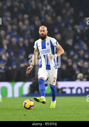 Bruno of Brighton during the Premier League match between Brighton and Hove Albion and Leicester City at American Express Community Stadium , Brighton , 24 November 2018 Editorial use only. No merchandising. For Football images FA and Premier League restrictions apply inc. no internet/mobile usage without FAPL license - for details contact Football Dataco - Stock Image
