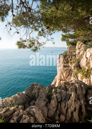 Rocky mediterranean coastline with pine trees and small boat on calm blue sea on sunny summer day - Stock Image