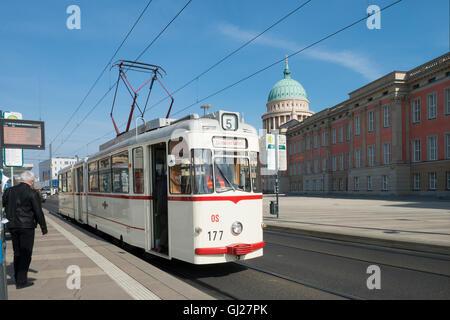 Potsdam Tram No. 177 at Parliament Building -1 - Stock Image