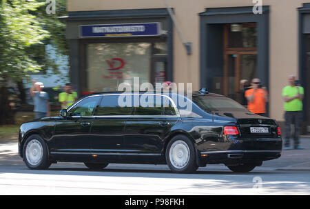Helsinki, Finland. 16th July 2018. Limousine of President Vladimir Putin of the Russian Federation Credit: Hannu Mononen/Alamy Live News - Stock Image