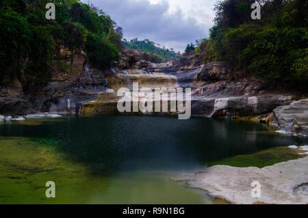 Beautiful green lakes and small waterfalls - Stock Image