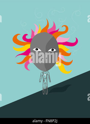 Depressed expressive woman starring at viewer - Stock Image