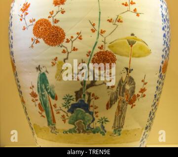 Part of Large Jar Figure under umbrella design in overglaze enamel. Porcelain. 17th century CE. Imari ware. Tokyo National Museum - Stock Image