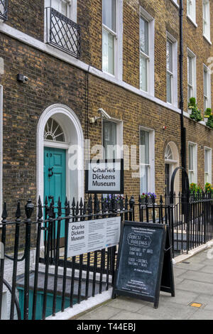 The Charles Dickens Museum in Doughty Street, Holborn, London. - Stock Image